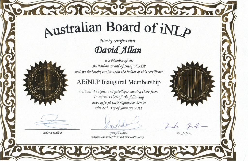 ABiNLP Inaugural Membership Certificate Jan2011