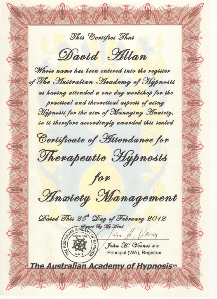 Certificate Anxiety Managment Hypnosis Feb2012
