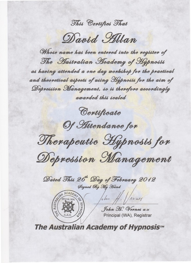 Certificate Depression Treatment Hypnosis Feb2012