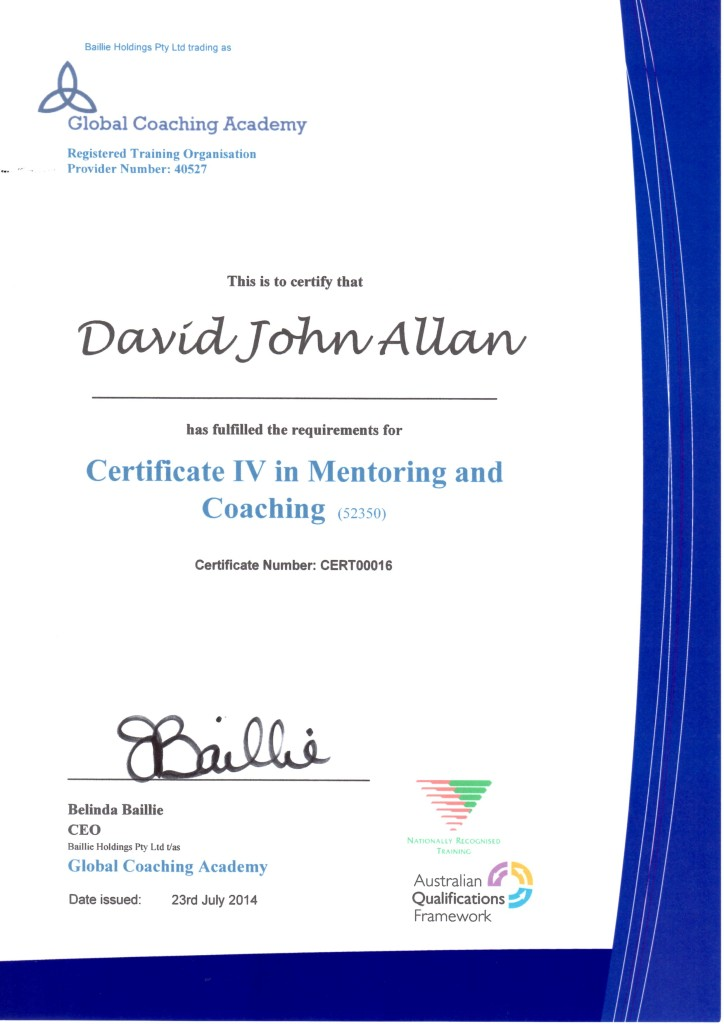 Certificate IV in Mentoring and Coaching July2014