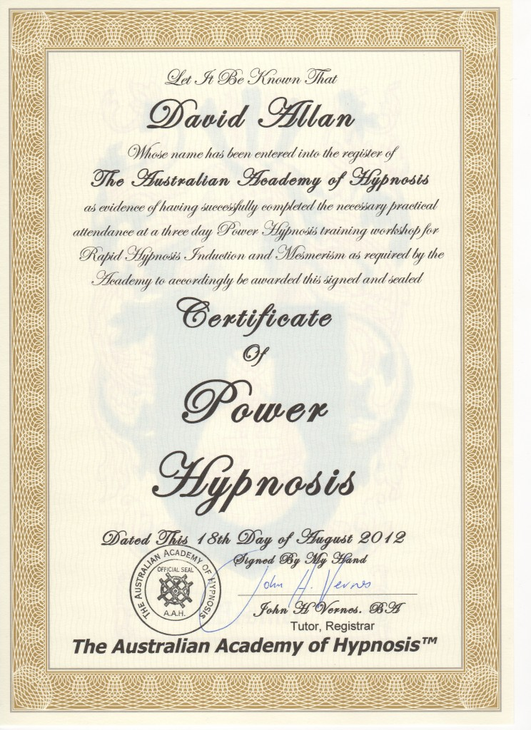 Certificate Power Hypnosis Aug2012