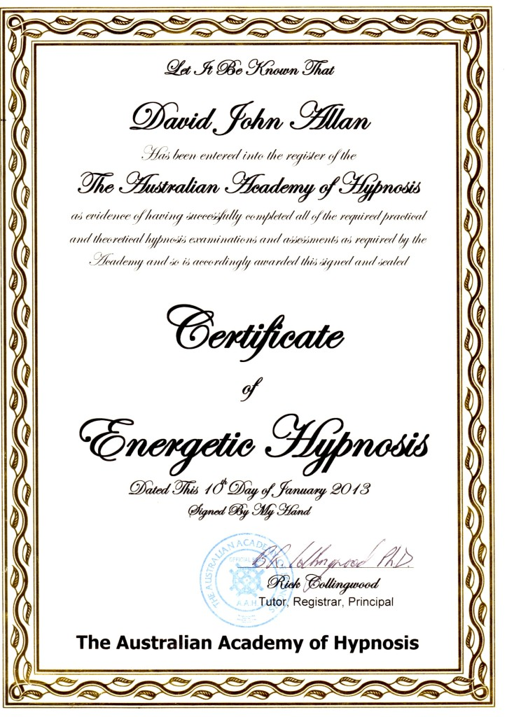 Certificate of Energetic Hypnosis Jan2013