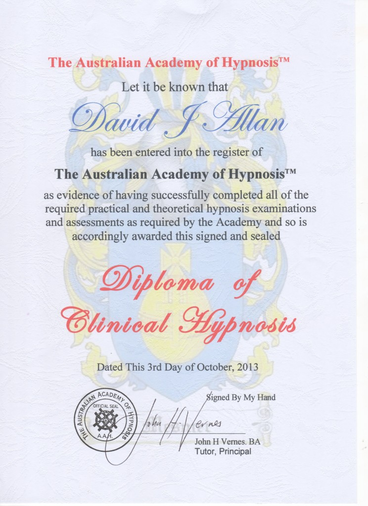 Diploma of Clinical Hypnosis Oct2013