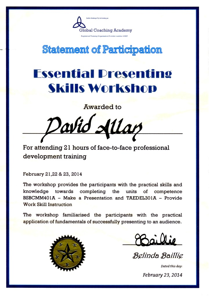 Essential Presenting Skills Workshop Certificate Feb2014
