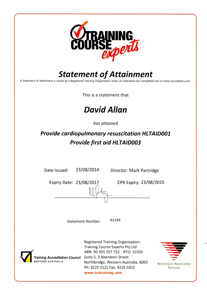 First Aid Certificate Aug2014
