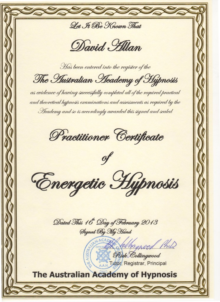 Practitioner Certificate of Energetic Hypnosis Feb2013