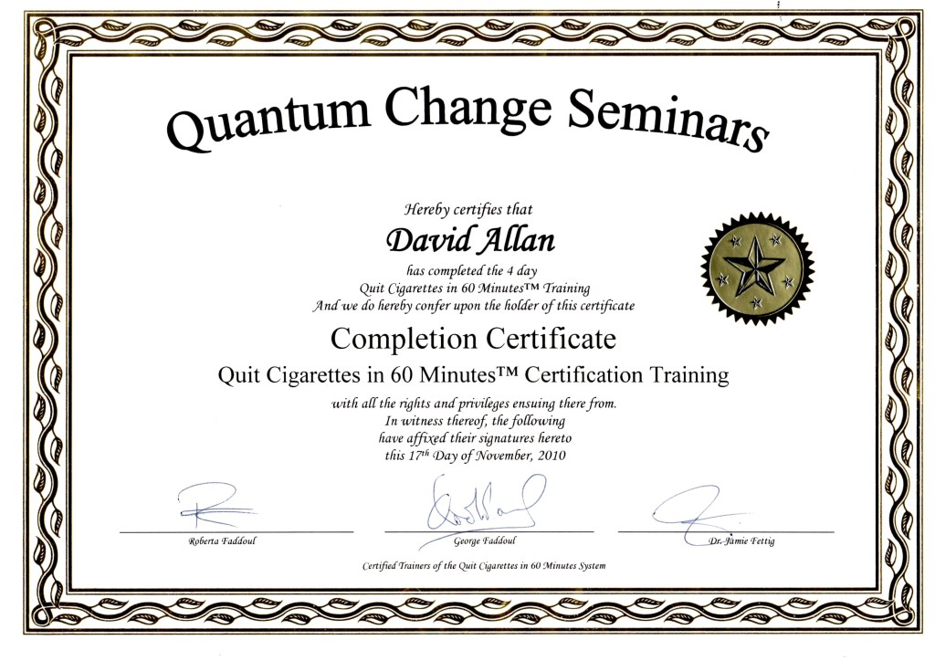 Quit Smoking Hypnosis Certificate QC Nov2010