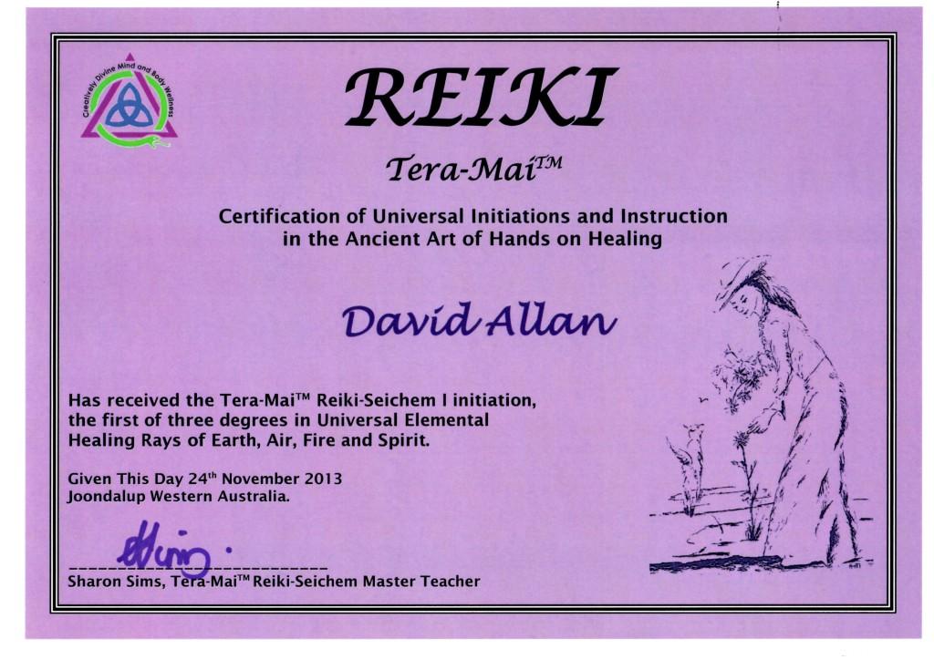 Reiki I Certificate Nov2013